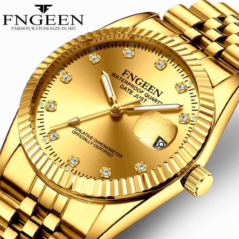 FNGEEN hombres reloj de oro Local magnate de la marca de lujo relojes de acero inoxidable reloj impermeable fecha calendario reloj de cuarzo G