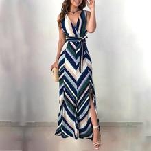 Women Stripes Backless Belted Slit Maxi Dress Sleeveless Ankle-Length Summer V-Neck Summder Maxi Dress 2019 Vacation Dress