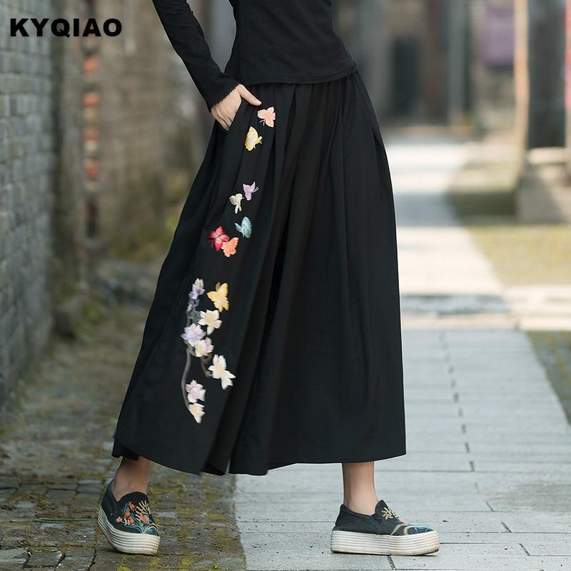 KYQIAO Ethnic pantskirt women autumn winter boho designer long black embroidery skirt traditional Chinese clothing