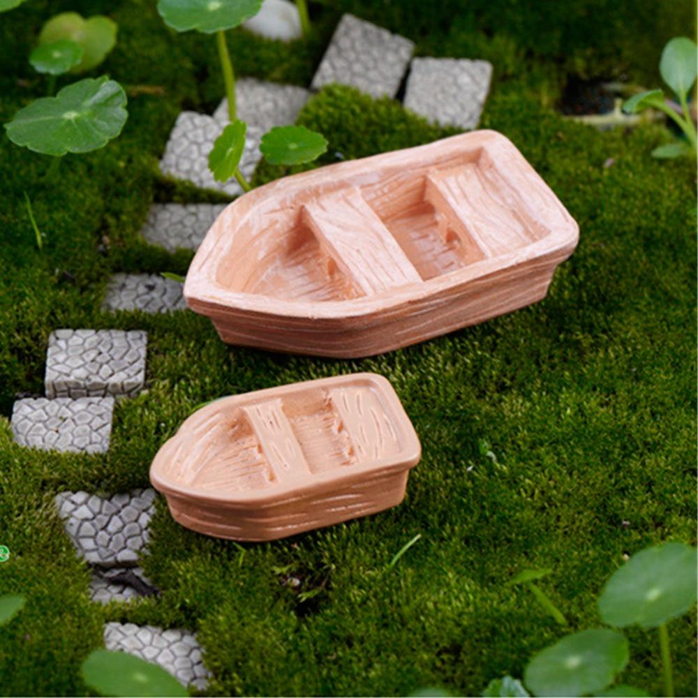 JETTING DIY ornamentos accesorios resina artesanía Retro madera barco Modelo figura juguetes micro jardín decoración 2 unid/set