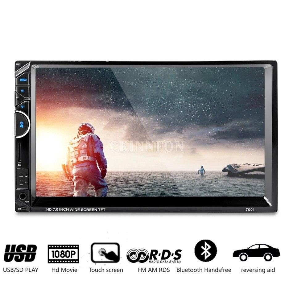 5 unids/lote FN 7 pulgadas Bluetooth coche Radio Video MP5 jugador Autoradio FM AUX USB SD 7001 FV (Color negro)