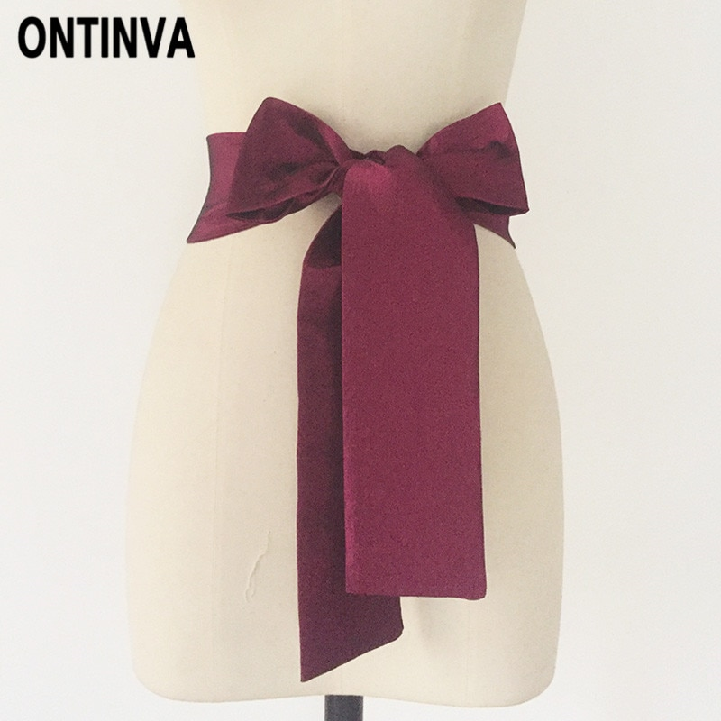 Women Fashion Waist belt 2 Meters Length 9cm Width Wine Red Black Dark Green Blue Neon Green Yellow Color Sashes