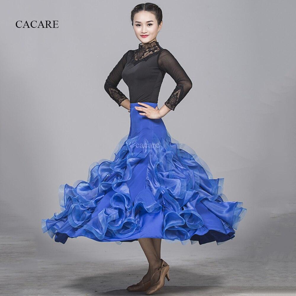 Ballroom Dance Competition Dresses Waltz Flamenco Standard Dance Dresses 8 Colors Top Skirt Set D0982 Big Sheer Hem