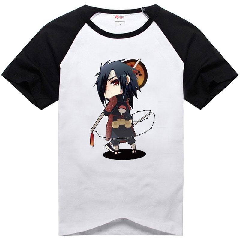 Anime Hokage Uchiha Madara camisetas raglán ajustado manga corta Camiseta cuello redondo Casual camisetas contraste Trim Tops