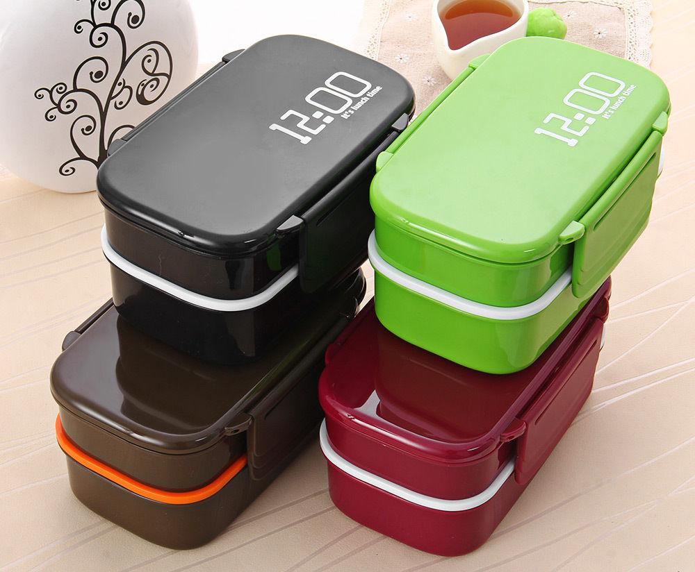 Бесплатная доставка 1200 часы 2 слоя бенто Ланч-бокс 1.4L микроволновые коробки пластиковый контейнер для еды (00098)