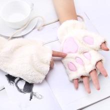 1 пара, женские милые пушистые перчатки с медвежонком, котом, плюшевой лапой, полупальчиковые перчатки, зимняя рукавица, теплые перчатки без пальцев, Xew
