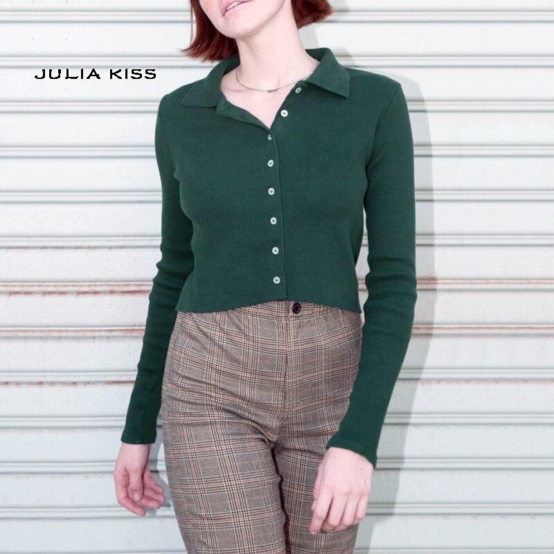 Camiseta abotonada con cuello de manga larga acanalada con borde crudo camiseta con botón de dobladillo abotonada para mujer