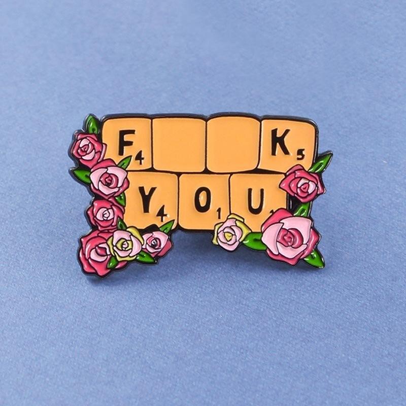 Teclado de la computadora FXXX YOU broche feminismo liberalismo rojo Rosa Flores esmalte alfileres insignia broches Lapel PIN regalo para mujer chica