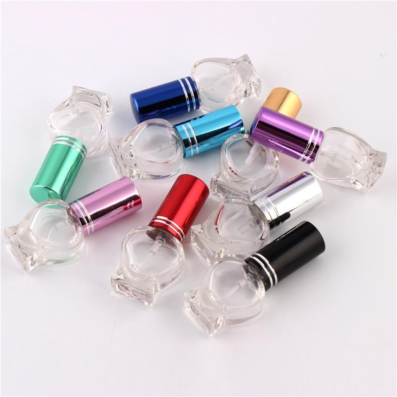 XYZ 10 Cor Vidro 5ml Frasco de Spray de Perfume Vazio Recarregáveis Portáteis Coração design atraente Mini Cosméticos Containe