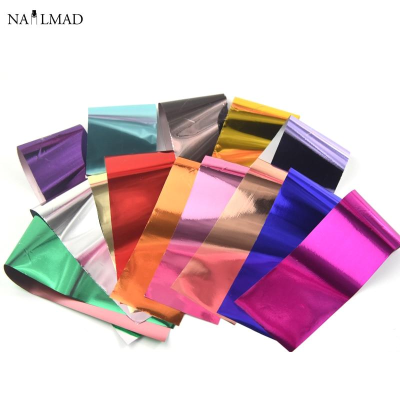 Adhesivos de transferencia de manicura de 14 colores con efecto metálico para uñas, colores pastel, papel de aluminio estrellado, decoraciones para uñas, accesorios para manicura