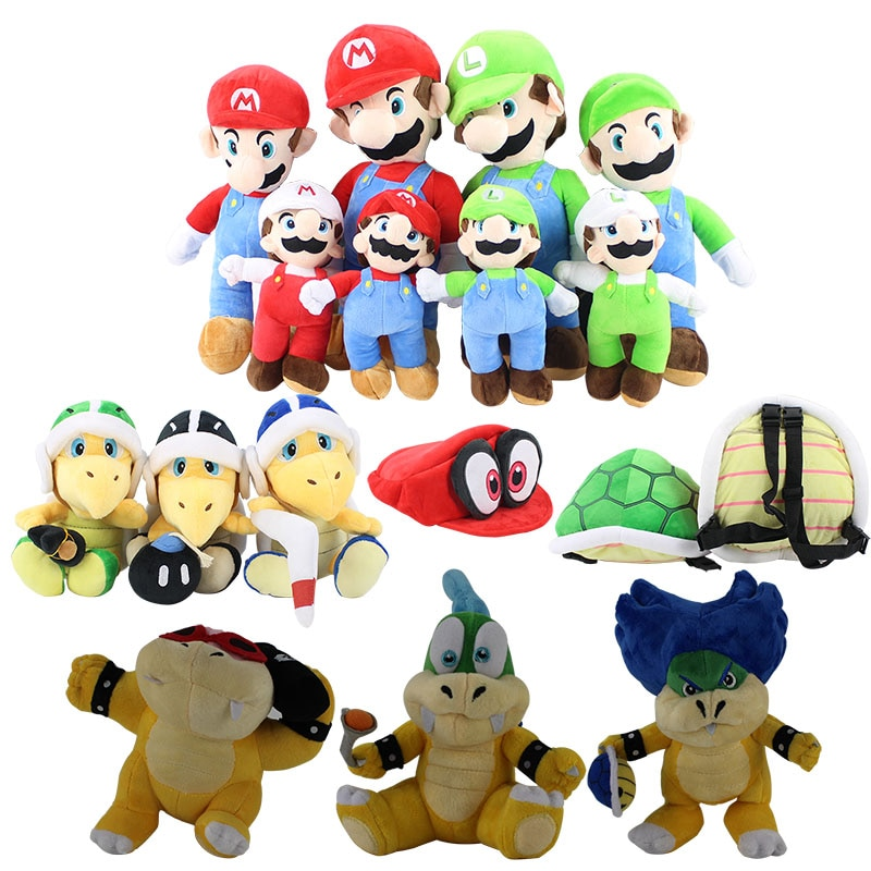17-41cm Super Mario Bros Mario Luigi Koopa plush cartoon doll toy Odyssey Cappy Cap Koopa Troopa Skull Turtle shell bag Bowser