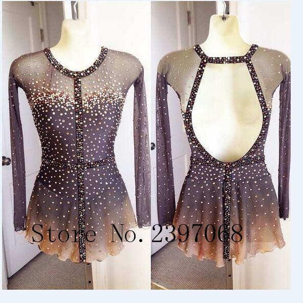 Grey Figure Skating Dress Women Competition Figure Skating Dresses Custom  No Sleeves Ice Skating Dresses Girls Cloting Ice B22