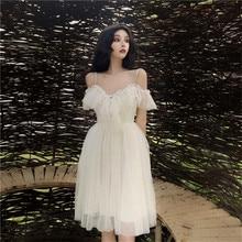Puffy robe de fée 2019 été nouvelle mode coréenne hors épaule robes sangle robe femmes Empire princesse Midi robe de bal Vestidos