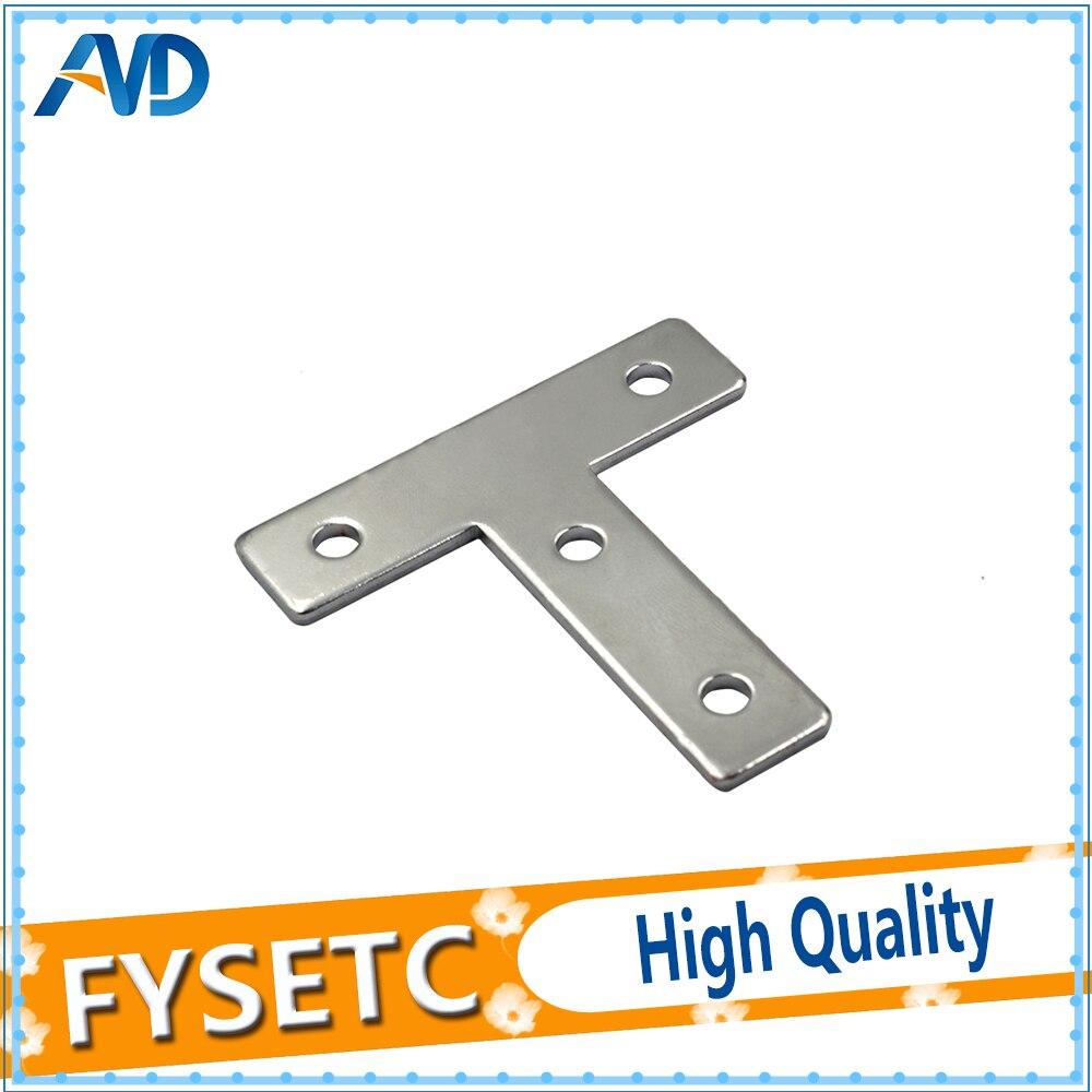 5 uds. Soporte de esquina de placa de ángulo abrazadera plana de reparación de forma de T 60mm x 60mm para perfil de aluminio 2020 20x20 con 4 agujeros