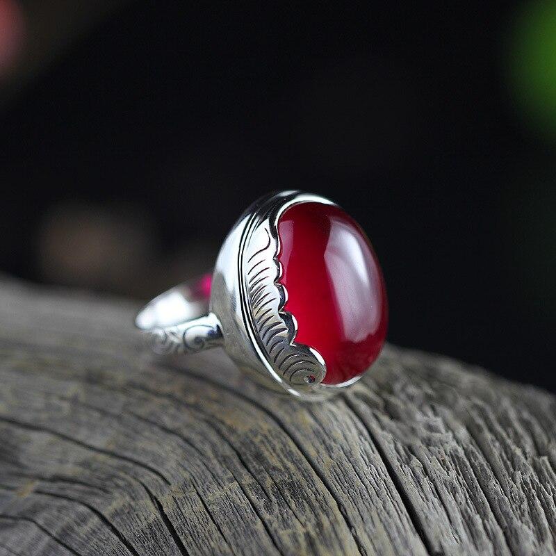 ¡Venta al por mayor! ¡nuevo anillo de otoño! ¡el personaje de las señoras de plata fina S925 rojo corindón