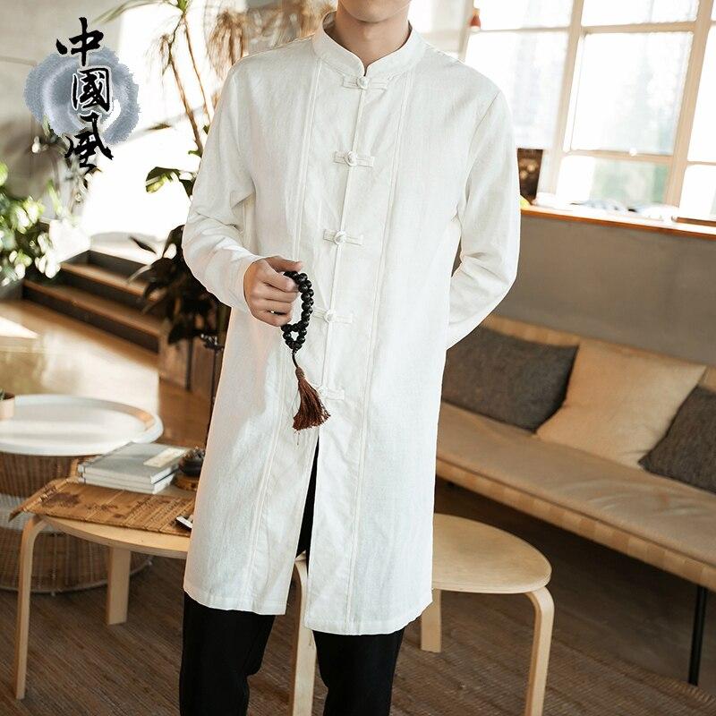 5XL الصينية نمط الملابس الأبيض Hanfu رجل طويل شاولين موحدة روبا تراديسيونال الصين كيمونو اليوسفي طوق الصين اللباس الكتان