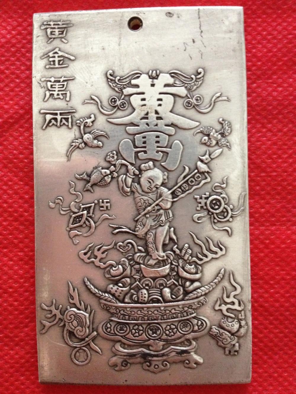 "Exquisita plata China tibetana ""Mil Taels de oro relieve estatua favorable amuleto de 136g"