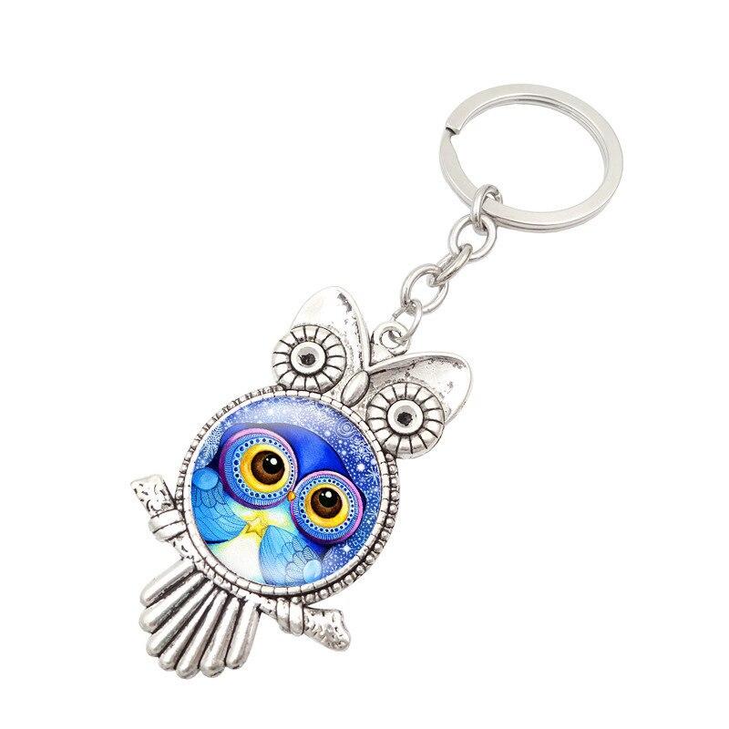 ¡Oferta! Llavero colgante Vintage de cristal con búho a la moda para mujer, el mejor amuleto de negocios para hombre, joyería para regalo de fiesta K2131