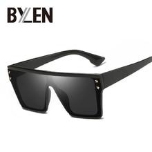 Oversized Square Sunglasses Women Men Flat Top Fashion One Piece Lens Sun Glasses Female Vintage Bra