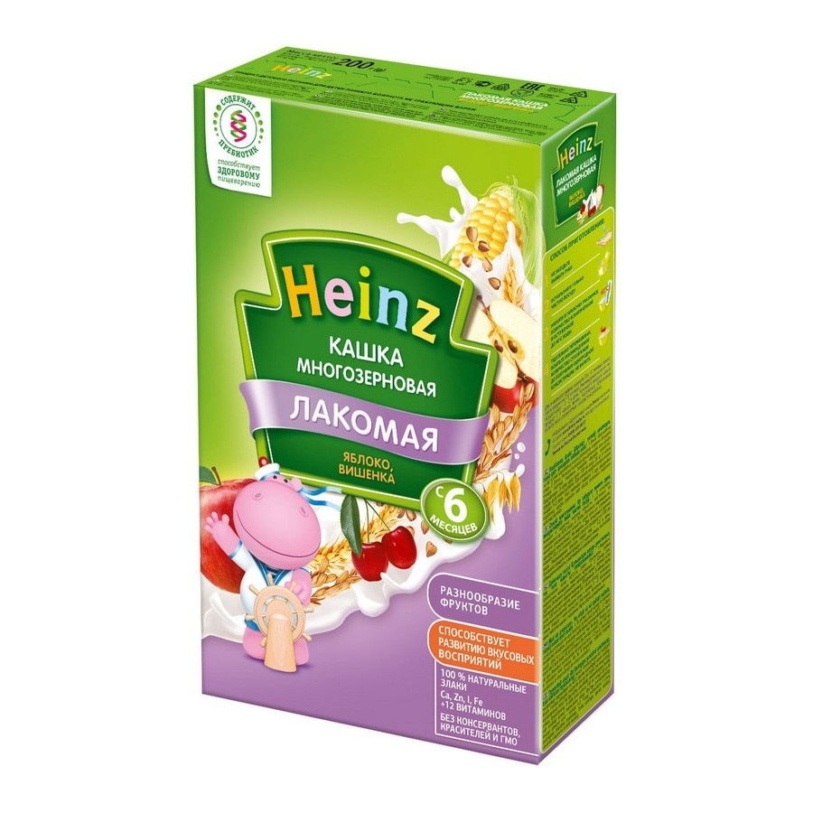 Хайнц кашка молочная лакомая многозерновая яблоко вишенка 6 мес. 200 г|Сухие