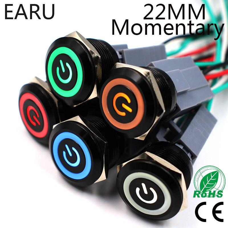 Interruptor de botón de metal de cuerpo negro de alúmina de 22mm, reinicio momentáneo impermeable, luz LED para motor de coche, marca de potencia de PC 3 5V 12V 24V 220V