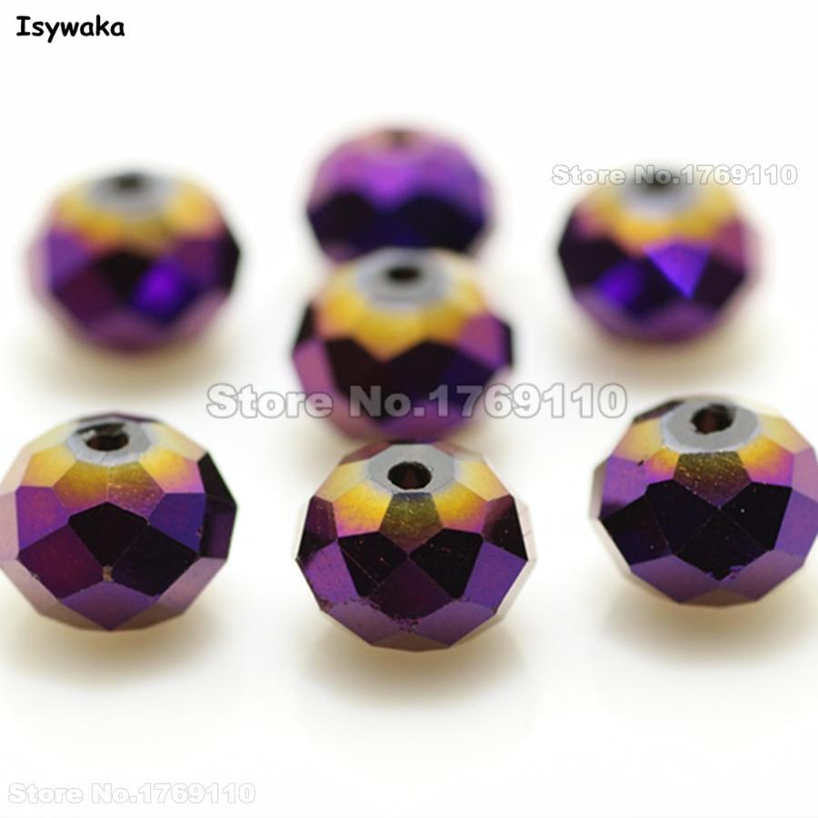 Isywaka que brilha a cor roxa 8*10mm 70 pces rondelle áustria facetou grânulos de vidro de cristal soltos do espaçador para fazer joias