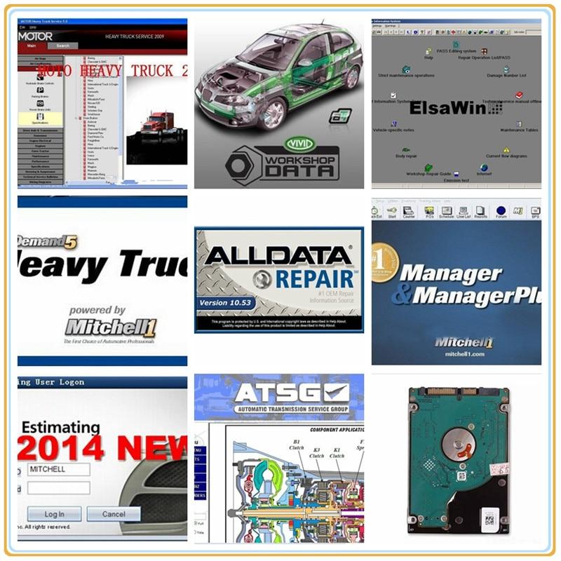 Alldata 50 software, reparación de automóviles, Nueva Versión 2020, mit/chell OD5, taller vivo, datos de coche atsg, suministro de discos duros de disco duro
