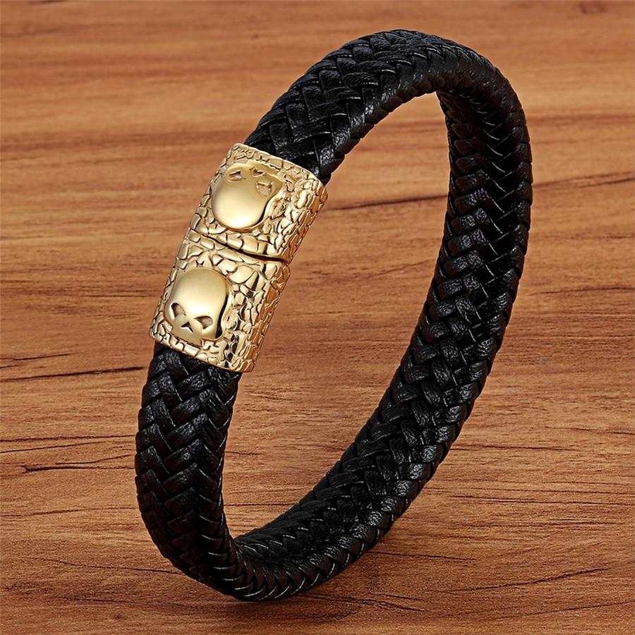 TYO, patrón de serpentina, cabeza de calavera de acero inoxidable, Color negro, pulsera de cuero genuino, brazalete combinado, accesorios de joyería para hombres