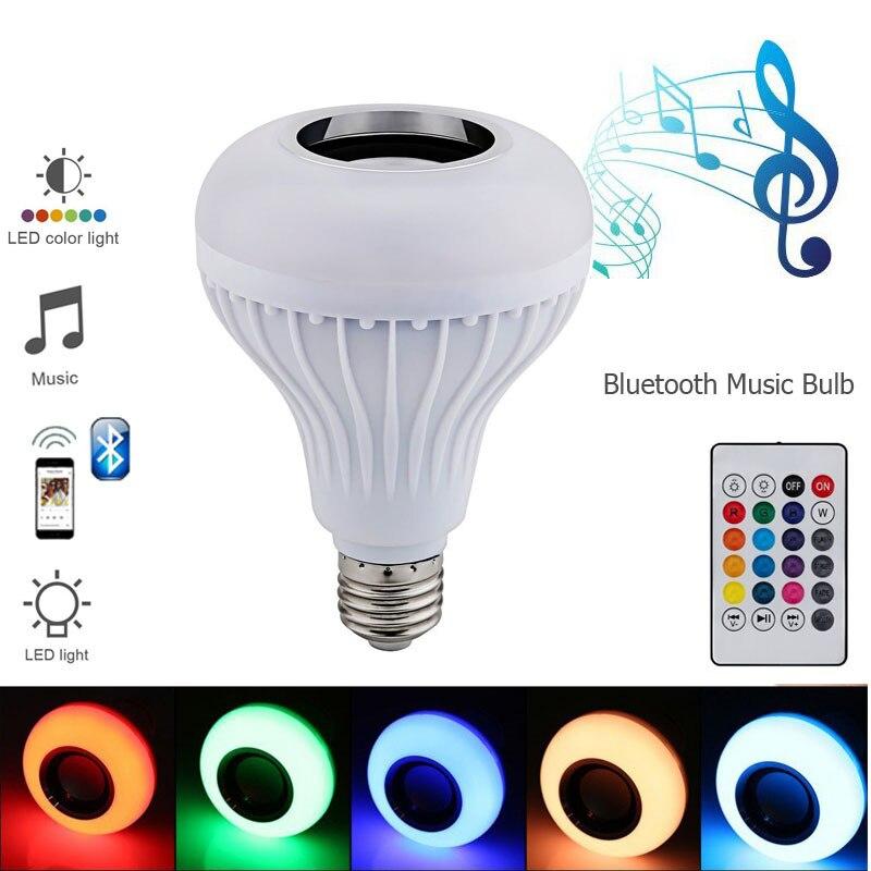 2018 bombilla LED E27 RGB lámpara con lámpara de sonido Bluetooth bombilla altavoz reproductor de música Audio inteligente 220V luces Led para el hogar