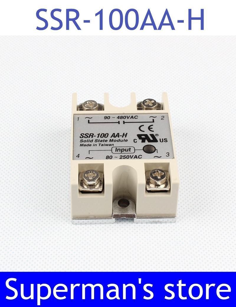1 Uds. Relé de estado sólido SSR-100AA-H 100A SSR 100AA H 80-250V CA a 90-480V AC relé de resistencia de estado sólido