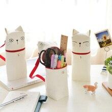 Yaratıcı kalem çantası Kawaii çanta kumaş kedi duygu yenilik çanta fermuarlı kalem kutusu kırtasiye okul