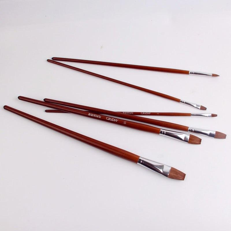 6 pçs/lote alta qualidade aquarela gouache pintura caneta cabelo doninha de madeira lidar com pincel de pintura conjunto arte desenho suprimentos