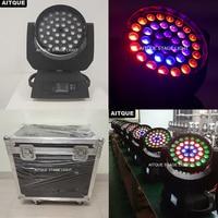 (4lights+Case)Dj led lighting moving head wash led 36x18w rgbwa uv 6in1 lyre led wash zoom moving head flight case