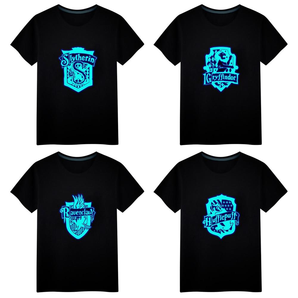 Magia Hogwarts Slytherin Gryffindor luminosa camiseta Casual tops unisex camisetas de chaleco de manga corta hombres camiseta niños camiseta