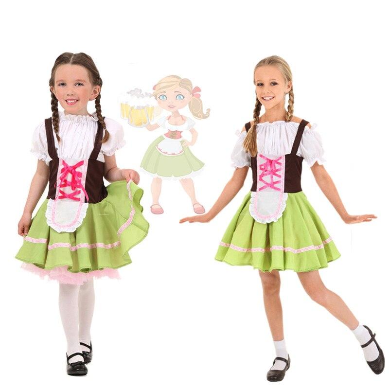 Niños Niñas alemana cerveza Heidi trajes bávaro Oktoberfest disfraz de chica cerveza Halloween fiesta vestido de lujo S-XL