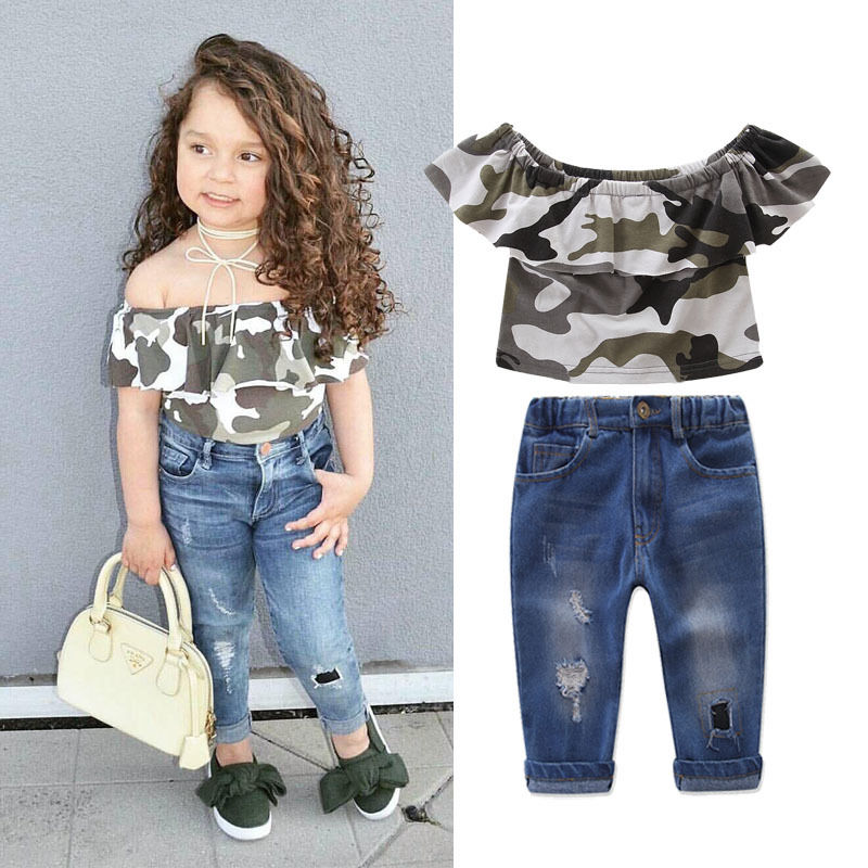 New Fashion Kids Clothes Off shoulder Camo Crop Tops+Hole Jean Denim Pant 2PCS Outfit Summer Suit Children Clothing Set