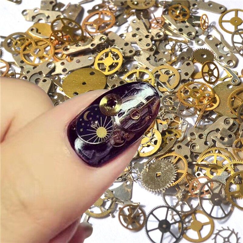 YZWLE 1 упаковка, ретро золотые часы, зубчатые шпильки 3D, сделай сам, для дизайна ногтей, украшения для маникюрного салона