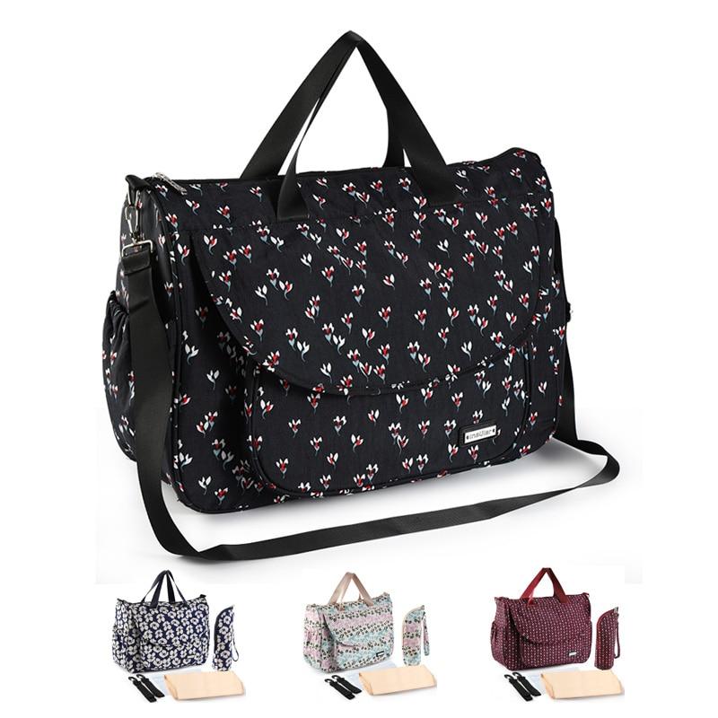 Nuevo bolso de bebé estampado para cochecito bolsa de pañales impermeable para mamá bolsas de gran capacidad para madre lactante cuidado del bebé bolsa de maternidad