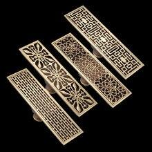 Drenaje lineal de latón antiguo para el suelo de la ducha, colador de alambre de 8x28cm con flores talladas, envío gratis, FD015