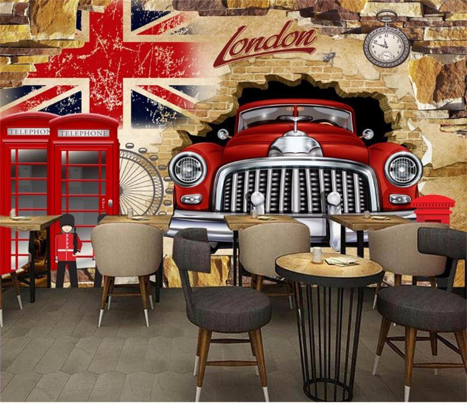 Papel pintado con foto 3d de sala de niños mural bandera británica coche romper pared foto KTV 3d mural papel para pared 3d