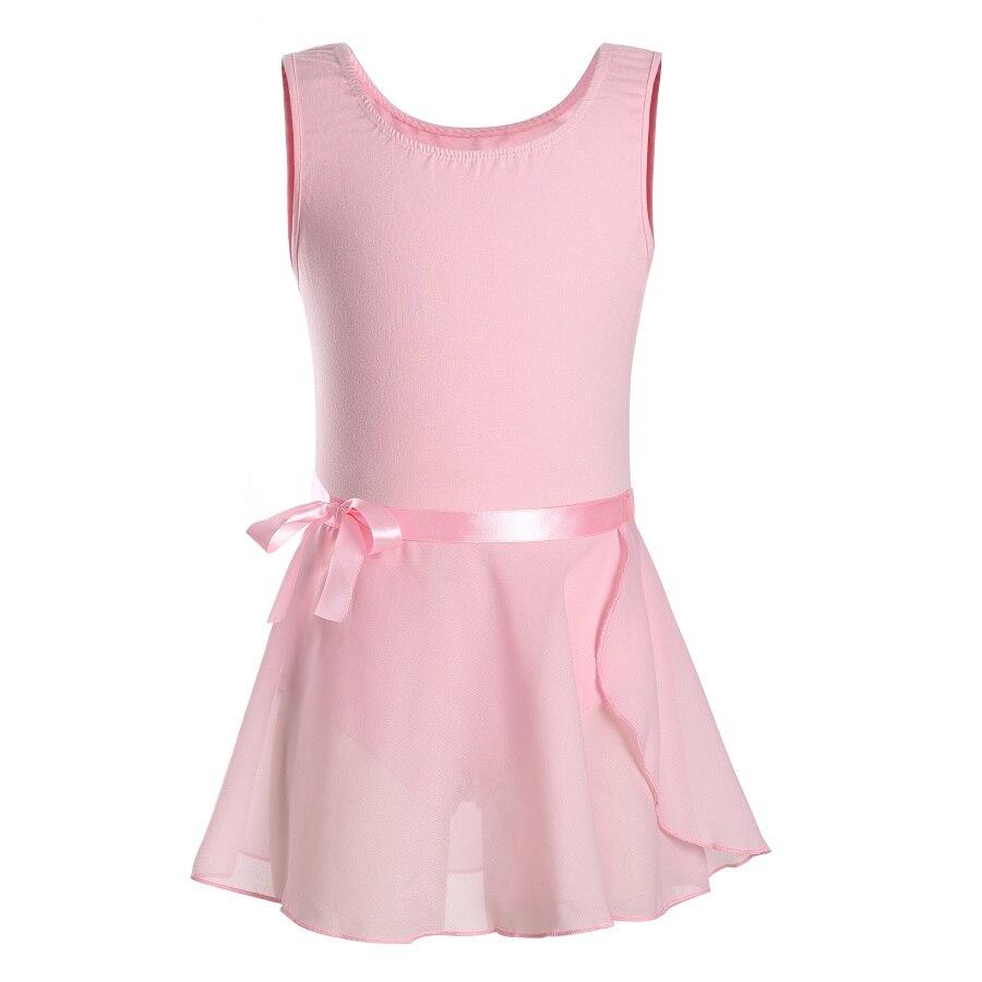 Niños Niñas gimnasia Ballet danza sin mangas leotardos Ropa de baile para niños pequeños con vestido de falda tutú