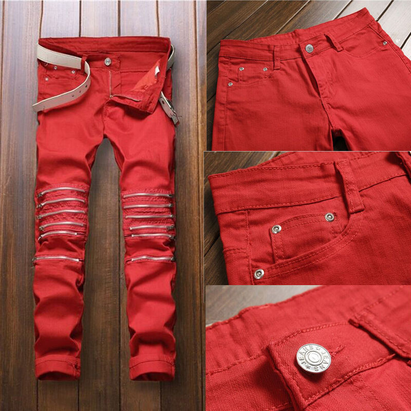 Hirigin Red Jeans Fashion Men Ripped Jeans Pants Biker Classic Skinny Fake Zip Straight Denim Jeans Streetwear