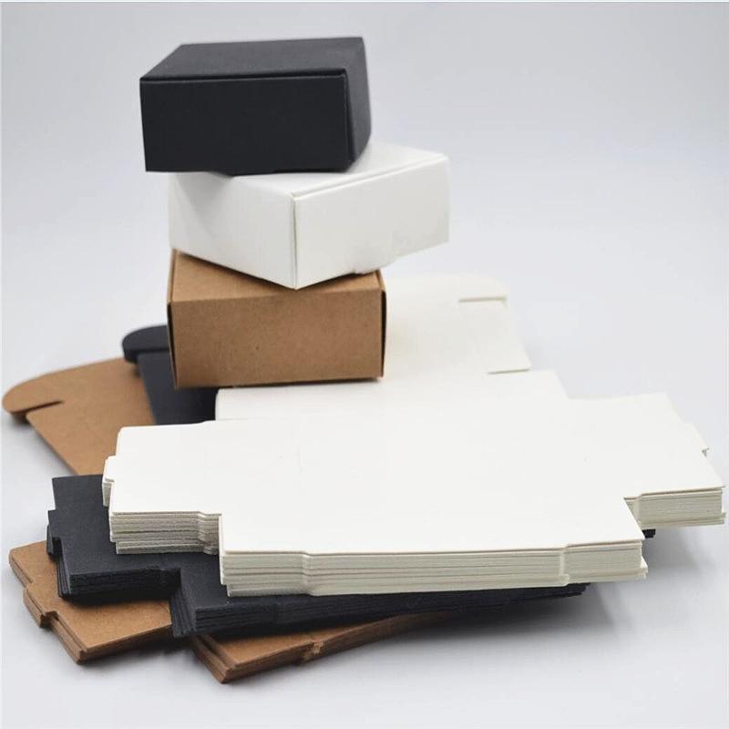 Caja de papel kraft 100 unids/lote, Envío Gratis, caja de papel kraft 350gsm, bonita caja de papel kraft blanca/negra/kraft, tamaño pequeño