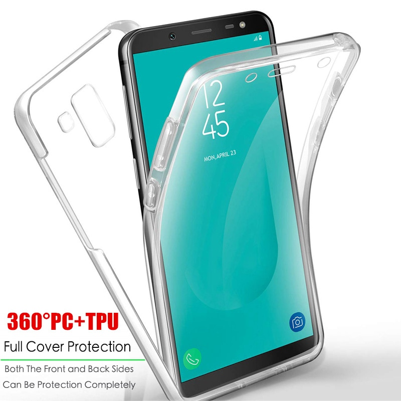 Claro 360 funda completa a prueba de golpes para Samsung Galaxy A10 A20 A20E A30 A40 A50 A60 A70 A80 M10 M20 M30 A6 A8 más A7 2018 carcasa