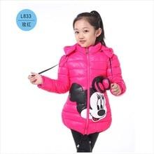 Hot! Girls Winter Coats&Ourwear Children Minnie Cartoon High quality winter Jacket,Baby Girls Cotton Long Sleeves Coat