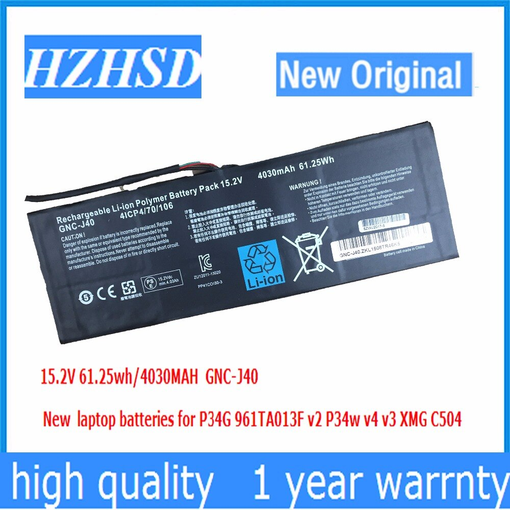 15.2 V 4030 mAh 61.25Wh nieuwe Originele GNC-J40 961TA013F Laptop Batterij Voor GIGABYTE P34W P34K P34F P34G V2 V3 V4 V5 V7