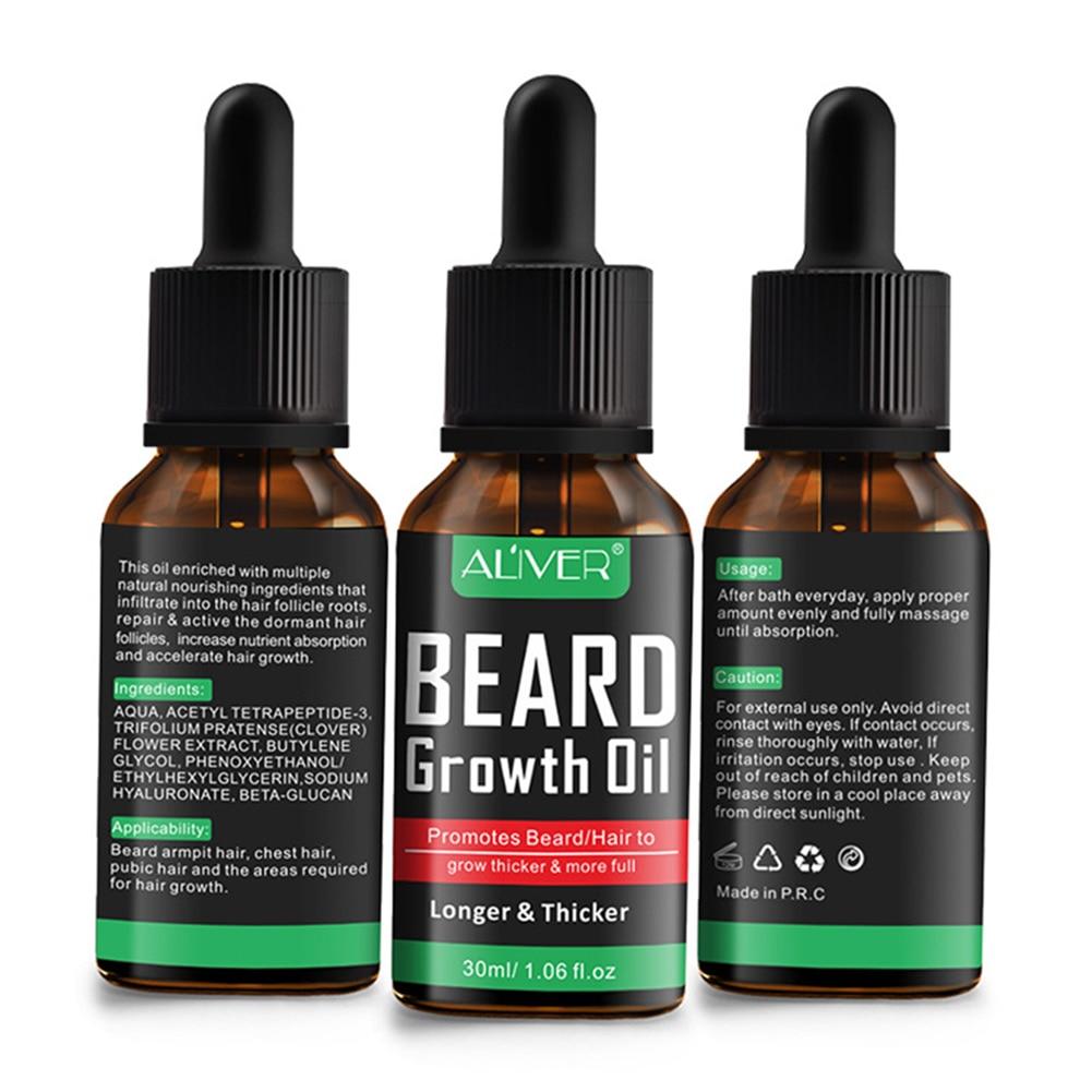 1pcs New 30ml Natural Beard Growth Essential Oil Nourishing Beard Care Moustache Growing Essence Liquid