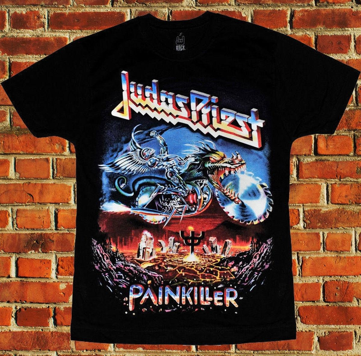 Haree hard rock punk metal banda judas priest paintkiller nova moda casual algodão manga curta carta topo t