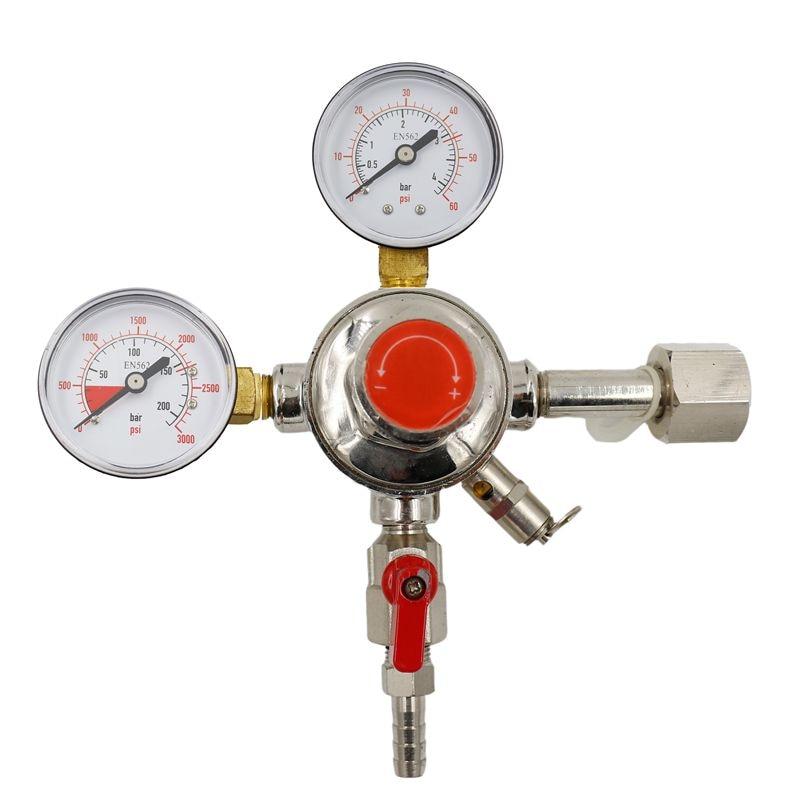 Dual Gauge CO2 Regulator Homebrew Kegging Draft Beer Kegerators Regulator Safety Pressure Relief Valve