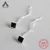 100 s925 sterling silver elegant earrings black cubic zircon earrings jewelry gift for women